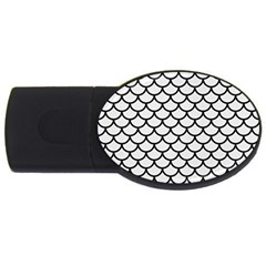 Scales1 Black Marble & White Linen Usb Flash Drive Oval (2 Gb)
