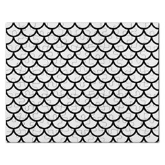 Scales1 Black Marble & White Linen Rectangular Jigsaw Puzzl