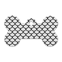 Scales1 Black Marble & White Linen Dog Tag Bone (one Side)
