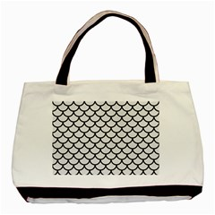 Scales1 Black Marble & White Linen Basic Tote Bag (two Sides)