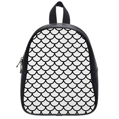 Scales1 Black Marble & White Linen School Bag (small)