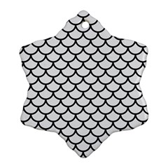 Scales1 Black Marble & White Linen Ornament (snowflake)