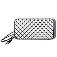 Scales1 Black Marble & White Linen Portable Speaker