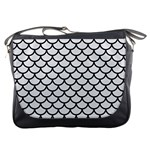 SCALES1 BLACK MARBLE & WHITE LINEN Messenger Bags Front