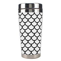 Scales1 Black Marble & White Linen Stainless Steel Travel Tumblers