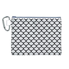 Scales1 Black Marble & White Linen Canvas Cosmetic Bag (l)