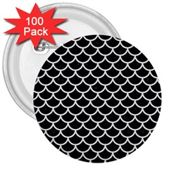Scales1 Black Marble & White Linen (r) 3  Buttons (100 Pack)
