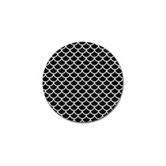 Scales1 Black Marble & White Linen (r) Golf Ball Marker (4 Pack)