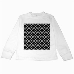 Scales1 Black Marble & White Linen (r) Kids Long Sleeve T Shirts