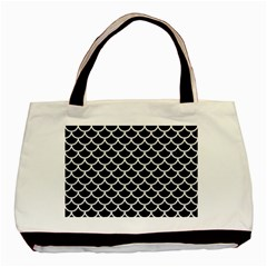 Scales1 Black Marble & White Linen (r) Basic Tote Bag
