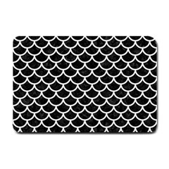 Scales1 Black Marble & White Linen (r) Small Doormat
