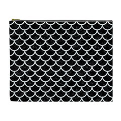 Scales1 Black Marble & White Linen (r) Cosmetic Bag (xl)