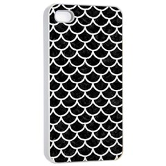 Scales1 Black Marble & White Linen (r) Apple Iphone 4/4s Seamless Case (white)
