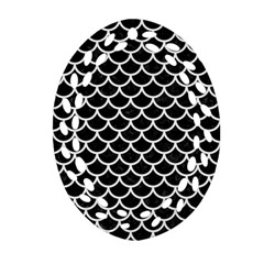 Scales1 Black Marble & White Linen (r) Oval Filigree Ornament (two Sides)