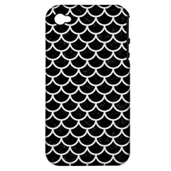 Scales1 Black Marble & White Linen (r) Apple Iphone 4/4s Hardshell Case (pc+silicone)