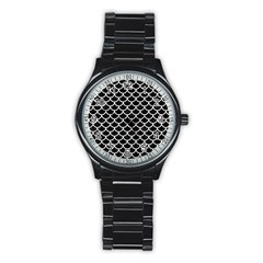 Scales1 Black Marble & White Linen (r) Stainless Steel Round Watch