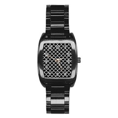 Scales1 Black Marble & White Linen (r) Stainless Steel Barrel Watch
