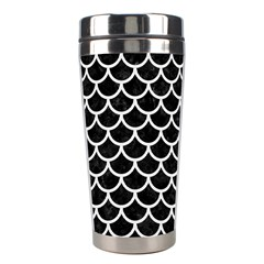 Scales1 Black Marble & White Linen (r) Stainless Steel Travel Tumblers