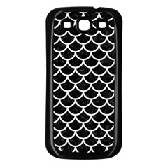 Scales1 Black Marble & White Linen (r) Samsung Galaxy S3 Back Case (black)