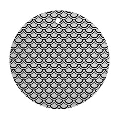 Scales2 Black Marble & White Linen Ornament (round)