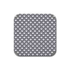 Scales2 Black Marble & White Linen Rubber Square Coaster (4 Pack)