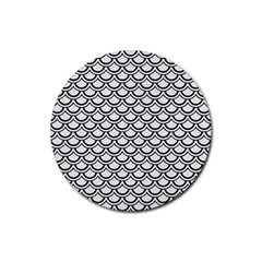 Scales2 Black Marble & White Linen Rubber Coaster (round)