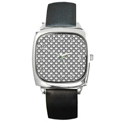 Scales2 Black Marble & White Linen Square Metal Watch