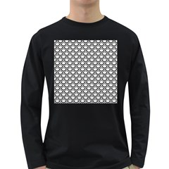 Scales2 Black Marble & White Linen Long Sleeve Dark T Shirts