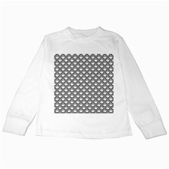 Scales2 Black Marble & White Linen Kids Long Sleeve T Shirts