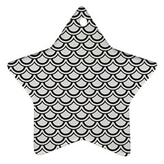 Scales2 Black Marble & White Linen Star Ornament (two Sides)