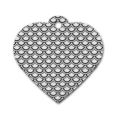 Scales2 Black Marble & White Linen Dog Tag Heart (one Side)