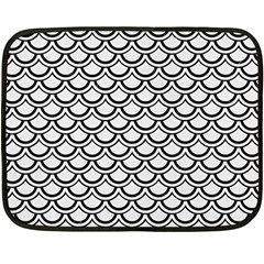Scales2 Black Marble & White Linen Double Sided Fleece Blanket (mini)