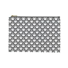 Scales2 Black Marble & White Linen Cosmetic Bag (large)
