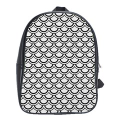 Scales2 Black Marble & White Linen School Bag (large)