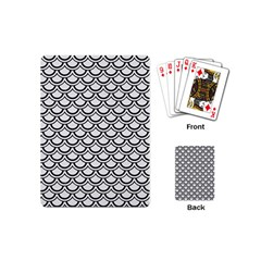 Scales2 Black Marble & White Linen Playing Cards (mini)