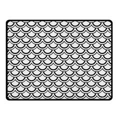 Scales2 Black Marble & White Linen Double Sided Fleece Blanket (small)