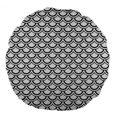 Scales2 Black Marble & White Linen Large 18  Premium Flano Round Cushions