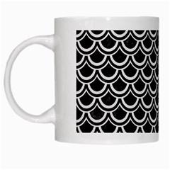 Scales2 Black Marble & White Linen (r) White Mugs