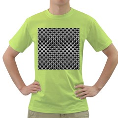 Scales2 Black Marble & White Linen (r) Green T Shirt
