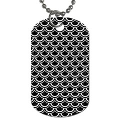 Scales2 Black Marble & White Linen (r) Dog Tag (two Sides)
