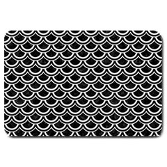 Scales2 Black Marble & White Linen (r) Large Doormat