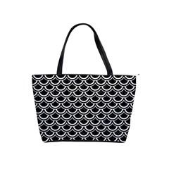 Scales2 Black Marble & White Linen (r) Shoulder Handbags