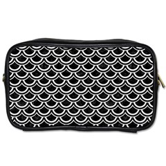 Scales2 Black Marble & White Linen (r) Toiletries Bags 2 Side