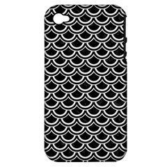Scales2 Black Marble & White Linen (r) Apple Iphone 4/4s Hardshell Case (pc+silicone)