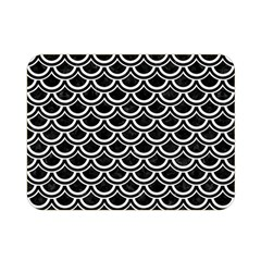 Scales2 Black Marble & White Linen (r) Double Sided Flano Blanket (mini)
