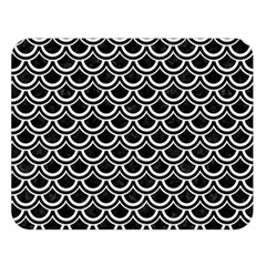 Scales2 Black Marble & White Linen (r) Double Sided Flano Blanket (large)