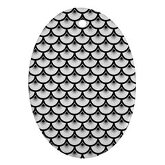 Scales3 Black Marble & White Linen Ornament (oval)