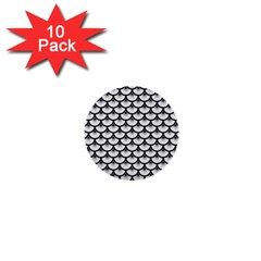 Scales3 Black Marble & White Linen 1  Mini Buttons (10 Pack)