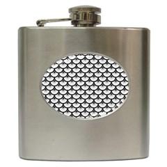 Scales3 Black Marble & White Linen Hip Flask (6 Oz)