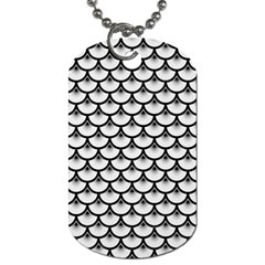 Scales3 Black Marble & White Linen Dog Tag (two Sides)